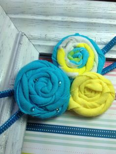 teal and yellow cotton headband     $4.00 USD