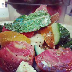 Persian Cucumber & Heirloom Tomato Salad, with mint, feta cheese, lemon vinaigrette #Fress #santamonica #winedinners #popup #wine #food #3coursemenu #wednesdays #dinner