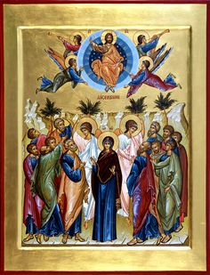 Ascension of Christ (C) Icon Holy Thursday, Pure Fun, Byzantine Icons, Orthodox Icons, Christian Faith, Christianity, Creations, Painting, Prodigal Son