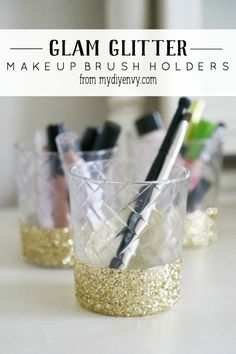 DIY Gold Glitter Dipped Makeup Holder, cute and easy idea!