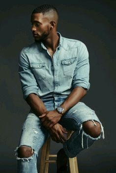 Hairstyles blackmen Stunning Rhodis Eason in denim wear – captured by Alex d Rogers photography Penteados homens negros Handsome Men Quotes, Handsome Arab Men, Black Male Models, Male Models Poses, Swag Style, Mens Photoshoot Poses, Strong Woman Tattoos, Gorgeous Black Men, Black Men Hairstyles