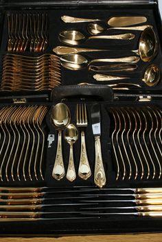 Bestecke Solingen Gold Plated 73 Piece Flatware Set with Case KE ...