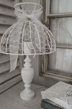Lampshade made of chicken wire                                                                                                                                                                                 More