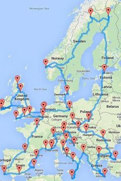 This Map Shows How to Take an Epic Road Trip Across Europe. 45 cities, months of sight seeing with only 14 days driving. - This Map Shows How to Take an Epic Road Trip Across Europe. 45 cities, months of sight seeing with only 14 days driving. Backpacking Europe, Road Trip Europe, Travel Europe, Europe Europe, Road Trip Map, Backpack Europe Route, Europe Train, Europe Packing, Packing Lists