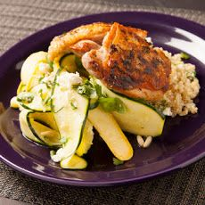 Oregano Chicken Thighs with Squash Ribbons & Quinoa