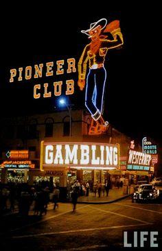 Las Vegas Classic Neon on Fremont Street ~ 1955 vintage photo  Vegas Vic