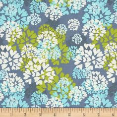 Memory Lane Agapanthus Teal from @fabricdotcom  Designed by Nel Whatmore for Westminster, this cotton print fabric is perfect for quilting, apparel and home decor accents. Colors include lime, blue, cream and blue.