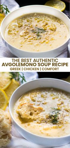 Avgolemono soup, literally meaning egg-lemon, is an authentic Greek chicken soup recipe that is both healthy and delicious! Tart lemons and egg yolk are simmered in a savory chicken broth for a comforting chicken soup with a twist. All that lemony and chicken goodness soothes the tummy and the sniffles, making it the perfect winter comfort recipe. Serve with some fresh dill for a healthy dinner recipe. #souprecipe #greeksoup #dinnerrecipe #chickensoup #comfortfood #chicken