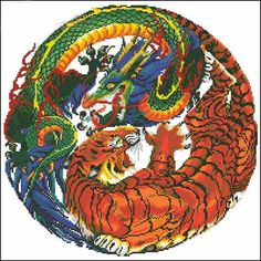 Dragon Tiger Orientalcross stitch pattern