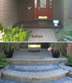 Front Porch Pavers Porch Covering New Front Step And Front Walkway With Front Landscape Step Diy Front Porch Pavers – home ideas guide Entrance, Porch Steps, Front Landscaping, Concrete Steps, Front Entryway, Brick Patios, Landscaping Entryway, Diy Front Porch
