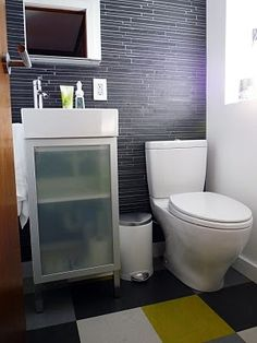 I like the tile work in this powder room. #bathroom #tile