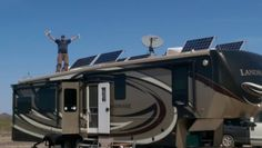 """The Adams family is going Solar! """"Oh Yeah! Been full time 11 years and just added full solar to the #Landmark, so we can now go anywhere."""" #HeartlandRVs Thanks for sharing! #Camping #RVing Adams Family, Motor Homes, 5th Wheels, Fifth Wheel, Transformers, Trailers, Rv, Solar, Boss"""