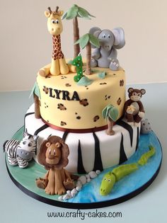 Jungle Birthday Cakes, Jungle Theme Cakes, Boys First Birthday Cake, Animal Birthday Cakes, Safari Cakes, 18th Birthday Cake, Animal Cakes For Kids, Zoo Animal Cakes, Bolo Fack