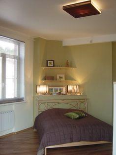 Corner Bed Headboard diagonal bed + corner table behind | apartment | pinterest