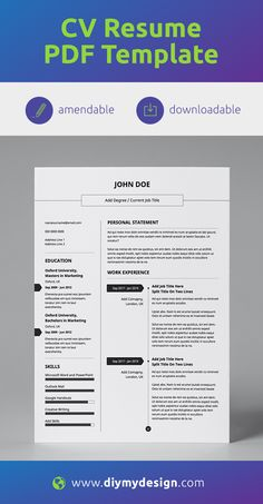 Diy my design provides professional, predesigned CV resume templates in easily amendable PDF format. Unlike other templates we offer a predesigned layout in accessible format so you don't need to worry about any of the creative work or having designer software. All you need to do is add and edit your CV content. It's that simple.  #cv #resume #pdf #resumetemplate #cvtemplate #amendabletemplate #job #jobsearch #career #success #jobs #careeradvice