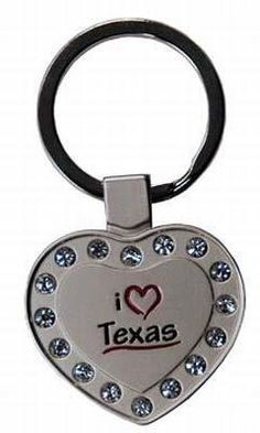 Buy online Latest Texas Metal Heart Keychain w/Rhinestones Case Pack 60 on Ergode.com