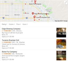Listing of Local Restaurants From Google Profiles With Ratings