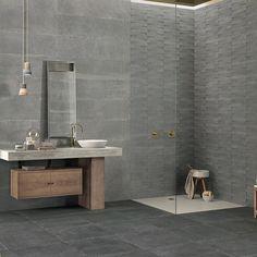 Cornerstone Slate Grey Porcelain Bathroom - Carmel Stone Imports Palo Alto & Monterey, CA Bathroom Countertops, Bathroom Floor Tiles, Wall And Floor Tiles, Slate Bathroom, Modern Room Design, Greige, Tile Showroom, Floor Texture, Deco Originale