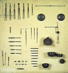 Instruments from an oculist's case, from Reims (metal), Gallo-Roman, (1st century BC) / Musee des Antiquites Nationales, St. Germain-en-Laye, France / Giraudon / The Bridgeman Art Library