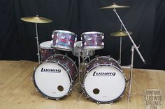 Vintage Ludwig Drum Kits | 1970 Ludwig Classic Black Panther 2 up 2 down