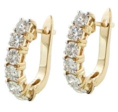 2.80 CT TW Large Diamond Hoop Earrings in 14K Yellow Gold. Oooooh I think this might be a need.