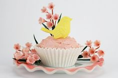 Pink Spring Lily Valley Yellow Bird Cupcake from Layer Cake Shop