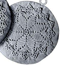 1939 Lucky Star Potholder pattern from Pot Holders, originally published by Spool Cotton Company, Book No. Crochet Potholder Patterns, Vintage Crochet Patterns, Crochet Blocks, Crochet Dishcloths, Crochet Motif, Crochet Doilies, Crochet Stars, Crochet Circles, Thread Crochet