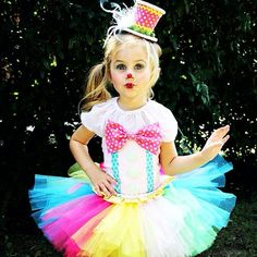 Adorable Clown Tutu Outfit Costume Circus Candy Land Rainbow