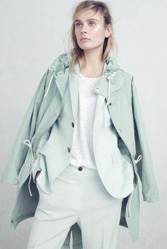 J.Crew Collection fishtail anorak coat, Collection women's Ludlow blazer in Italian mint, linen boyfriend tee and Collection women's Ludlow pant in Italian mint.