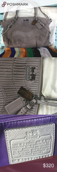 """gray coach madison gathered leather Sophia satchel Gathered Italian leather  Inside zip, cellphone and multifunction pockets Lavender/purple Fabric lining Zip-top closure Detachable shoulder strap with 10"""" drop Handles with 6"""" drop 17 (L) x 12 (H) x 3 1/4 (W) Style No: 15947 Coach carriage  logo embossed silver plate on the front.  Silver buckles accent on the front and back. Coach Bags Satchels"""
