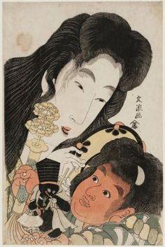 Yamauba and Kintarô  山姥と金太郎  Japanese, Edo period  Artist Bunrô, Japanese, active about 1801–1804, Woodblock print (nishiki-e); ink and color on paper, MFA