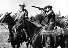 John Simpson Chisum (John Wayne) gets help from his neighbor William Bonney aka Billy The Kid (Geoffrey Deuel) as they set out after bandits that had raided his herd of horses in a scene from the movie 'Chisum' which was released on July 29, 1970.