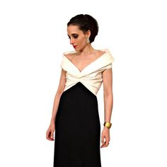 vintage tadashi gown / black and white off the by FoxandCatVintage