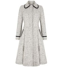 Classic-Wool-Fifties-Tweed-Coat-Bow (€1.635) ❤ liked on Polyvore featuring outerwear, coats, white coat, woolen coat, wool coat, tweed coat and white wool coat