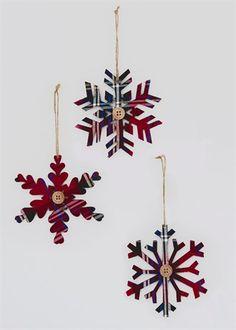 Christmas 3 Pack Tartan Snowflakes