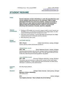 free college student resume templates - Resume Templates College Student