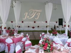 The pink is so flirty. Paired with the white center pole swags and tent, it looks beautiful!