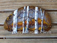 """Hand painted. """"Fall Colors"""". Agate slice. Sold."""
