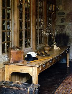 Love the rustic feel to this...maybe in the basement?
