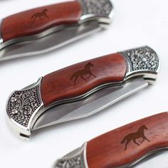Engraved wooden pocket knife etched with horse - I own one of these knives, and they are super cool. Our whole family actually has one (engraved with each person's initials), and we all love them. 21st Gifts, All Gifts, Gifts For Horse Lovers, Gift For Lover, Wooden Pocket Knife, Engraved Knife, Horse Cards, Black Stallion, Horse Necklace