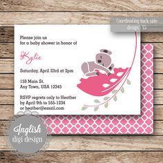 Inglish Digi Design | Printable Baby Shower Invitation | Vintage Koala, Leaf, Eucalyptus, Hot Pink / Gray