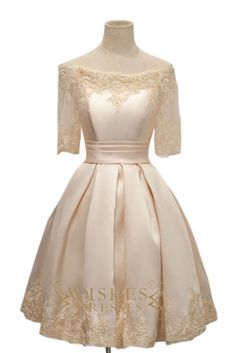 Petite Wedding Dress with Lace Sleeves Short Bridal Gowns Am481
