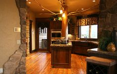 rustic cabin kitchen with a modern feel