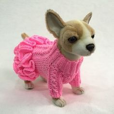 Handmade Knit Clothes Ruffled Sweater Dress and Hat for Dogs / Pets XXS, XS, S in Pet Supplies, Dog Supplies, Clothing & ShoesXXS Neck& Chest& Back& & collar& XXS Head circumference& Ruffled hat with ties. Knit sweater dress with mid-sleeves. Dog Sweater Pattern, Crochet Dog Sweater, Dog Pattern, Small Dog Clothes, Puppy Clothes, Crochet Dog Clothes, Pet Sweaters, Dog Clothes Patterns, Dog Coats