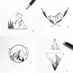"""Képtalálat a következőre: """"minimal tattoo alpinism"""" Mini Tattoos, Leg Tattoos, Body Art Tattoos, Small Tattoos, Geometric Mountain Tattoo, Tattoo Mountain, Geometric Tattoo Nature, Geometric Tattoos, Mountain Sketch"""