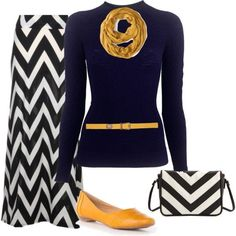 This is nice for work: Navy sweater, chevron maxi skirt and mustard color accents!