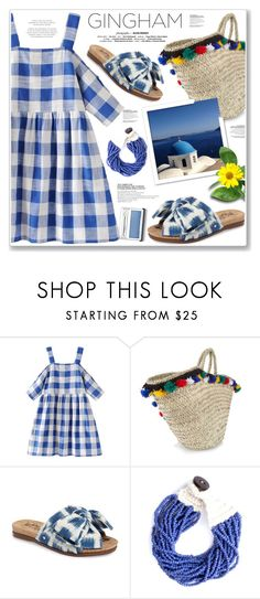 """WEEKEND GINGHAM"" by nanawidia ❤ liked on Polyvore featuring Muzungu Sisters, Sam Edelman, Mata Traders, Clinique, Blue, gingham, polyvoreeditorial and polyvorecontest"
