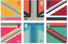 Collection of British postage stamps from the Royal Mail. The collection creates the union Jack flag when put next to each other Postage Stamp Design, Postage Stamps, Christopher Kane, Web Design, Graphic Design, Flag Design, Vivienne Westwood, Identity, Come Undone