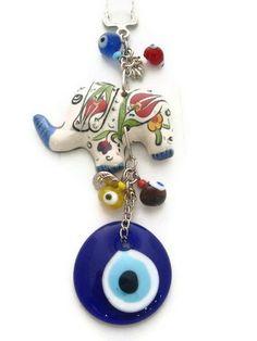 Seramic Evil Eye Keychain with Elephant by designsfromtr on Etsy, $12.99