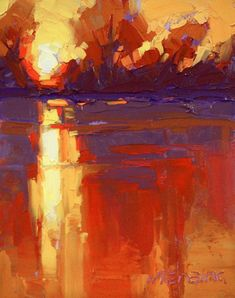 The Pride of All Beauty. Colors and the reflection on the river at sunset by David Mensing.